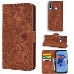 Retro Embossing Mandala Flower Leather Wallet Case for Huawei P20 Lite(2019) - Brown