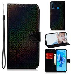 Laser Circle Shining Leather Wallet Phone Case for Huawei P20 Lite(2019) - Black
