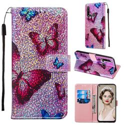 Blue Butterfly Sequins Painted Leather Wallet Case for Huawei P20 Lite(2019)