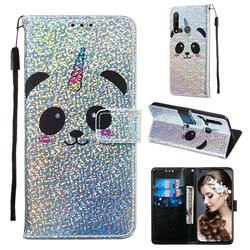 Panda Unicorn Sequins Painted Leather Wallet Case for Huawei P20 Lite(2019)