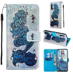 Mermaid Seahorse Sequins Painted Leather Wallet Case for Huawei P20 Lite(2019)
