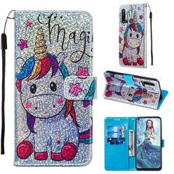 Star Unicorn Sequins Painted Leather Wallet Case for Huawei P20 Lite(2019)