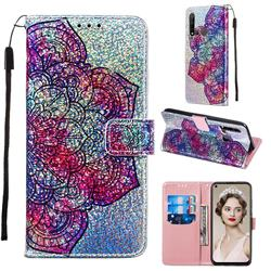 Glutinous Flower Sequins Painted Leather Wallet Case for Huawei P20 Lite(2019)