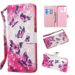 Pink Butterfly 3D Painted Leather Wallet Phone Case for Huawei P20 Lite(2019)