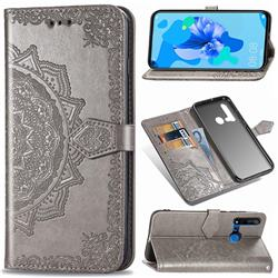 Embossing Imprint Mandala Flower Leather Wallet Case for Huawei P20 Lite(2019) - Gray