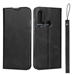 Calf Pattern Magnetic Automatic Suction Leather Wallet Case for Huawei P20 Lite(2019) - Black