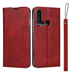 Calf Pattern Magnetic Automatic Suction Leather Wallet Case for Huawei P20 Lite(2019) - Red