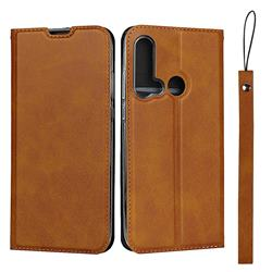 Calf Pattern Magnetic Automatic Suction Leather Wallet Case for Huawei P20 Lite(2019) - Brown