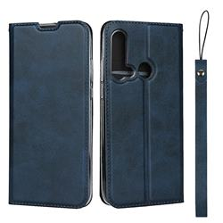 Calf Pattern Magnetic Automatic Suction Leather Wallet Case for Huawei P20 Lite(2019) - Blue