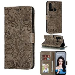 Intricate Embossing Lace Jasmine Flower Leather Wallet Case for Huawei P20 Lite(2019) - Gray