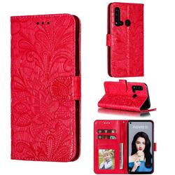 Intricate Embossing Lace Jasmine Flower Leather Wallet Case for Huawei P20 Lite(2019) - Red