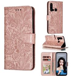 Intricate Embossing Lace Jasmine Flower Leather Wallet Case for Huawei P20 Lite(2019) - Rose Gold