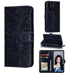 Intricate Embossing Lace Jasmine Flower Leather Wallet Case for Huawei P20 Lite(2019) - Dark Blue