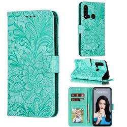 Intricate Embossing Lace Jasmine Flower Leather Wallet Case for Huawei P20 Lite(2019) - Green