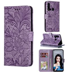 Intricate Embossing Lace Jasmine Flower Leather Wallet Case for Huawei P20 Lite(2019) - Purple