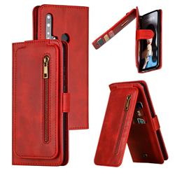 Multifunction 9 Cards Leather Zipper Wallet Phone Case for Huawei P20 Lite(2019) - Red