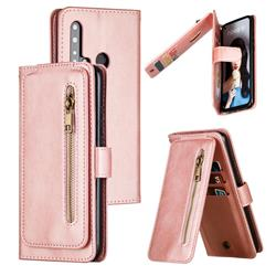 Multifunction 9 Cards Leather Zipper Wallet Phone Case for Huawei P20 Lite(2019) - Rose Gold