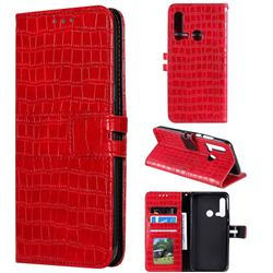 Luxury Crocodile Magnetic Leather Wallet Phone Case for Huawei P20 Lite(2019) - Red
