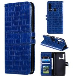 Luxury Crocodile Magnetic Leather Wallet Phone Case for Huawei P20 Lite(2019) - Blue
