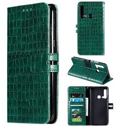 Luxury Crocodile Magnetic Leather Wallet Phone Case for Huawei P20 Lite(2019) - Green