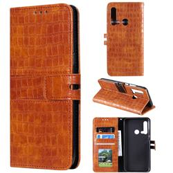 Luxury Crocodile Magnetic Leather Wallet Phone Case for Huawei P20 Lite(2019) - Brown