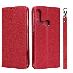 Ultra Slim Magnetic Automatic Suction Silk Lanyard Leather Flip Cover for Huawei P20 Lite(2019) - Red