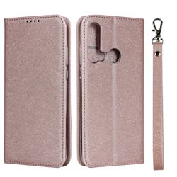 Ultra Slim Magnetic Automatic Suction Silk Lanyard Leather Flip Cover for Huawei P20 Lite(2019) - Rose Gold