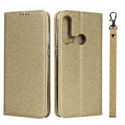 Ultra Slim Magnetic Automatic Suction Silk Lanyard Leather Flip Cover for Huawei P20 Lite(2019) - Golden