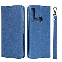 Ultra Slim Magnetic Automatic Suction Silk Lanyard Leather Flip Cover for Huawei P20 Lite(2019) - Sky Blue