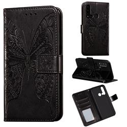 Intricate Embossing Vivid Butterfly Leather Wallet Case for Huawei P20 Lite(2019) - Black