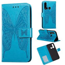 Intricate Embossing Vivid Butterfly Leather Wallet Case for Huawei P20 Lite(2019) - Blue