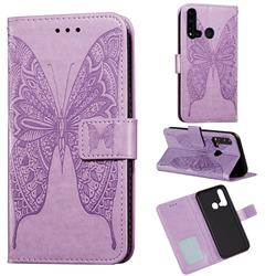 Intricate Embossing Vivid Butterfly Leather Wallet Case for Huawei P20 Lite(2019) - Purple