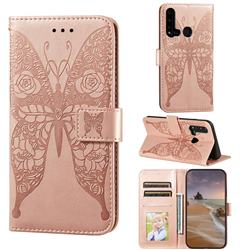 Intricate Embossing Rose Flower Butterfly Leather Wallet Case for Huawei P20 Lite(2019) - Rose Gold