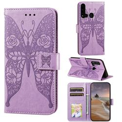 Intricate Embossing Rose Flower Butterfly Leather Wallet Case for Huawei P20 Lite(2019) - Purple