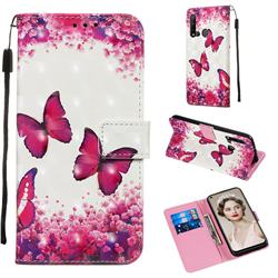 Rose Butterfly 3D Painted Leather Wallet Case for Huawei P20 Lite(2019)