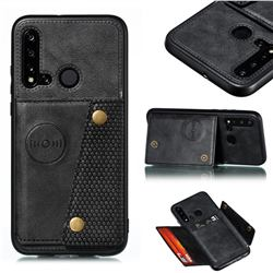 Retro Multifunction Card Slots Stand Leather Coated Phone Back Cover for Huawei P20 Lite(2019) - Black
