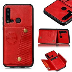 Retro Multifunction Card Slots Stand Leather Coated Phone Back Cover for Huawei P20 Lite(2019) - Red