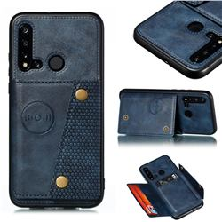 Retro Multifunction Card Slots Stand Leather Coated Phone Back Cover for Huawei P20 Lite(2019) - Blue