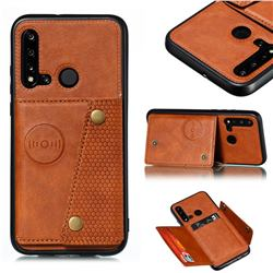 Retro Multifunction Card Slots Stand Leather Coated Phone Back Cover for Huawei P20 Lite(2019) - Brown