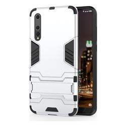 Armor Premium Tactical Grip Kickstand Shockproof Dual Layer Rugged Hard Cover for Huawei P20 Pro - Silver