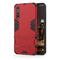 Armor Premium Tactical Grip Kickstand Shockproof Dual Layer Rugged Hard Cover for Huawei P20 Pro - Wine Red