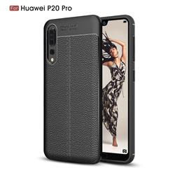 Luxury Auto Focus Litchi Texture Silicone TPU Back Cover for Huawei P20 Pro - Black