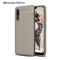 Luxury Auto Focus Litchi Texture Silicone TPU Back Cover for Huawei P20 Pro - Gray