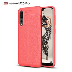 Luxury Auto Focus Litchi Texture Silicone TPU Back Cover for Huawei P20 Pro - Red