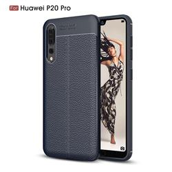 Luxury Auto Focus Litchi Texture Silicone TPU Back Cover for Huawei P20 Pro - Dark Blue