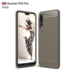 Luxury Carbon Fiber Brushed Wire Drawing Silicone TPU Back Cover for Huawei P20 Pro - Gray