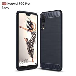 Luxury Carbon Fiber Brushed Wire Drawing Silicone TPU Back Cover for Huawei P20 Pro - Navy
