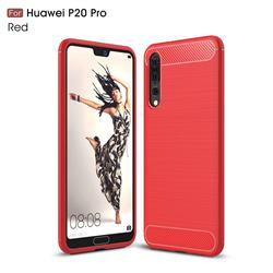 Luxury Carbon Fiber Brushed Wire Drawing Silicone TPU Back Cover for Huawei P20 Pro - Red
