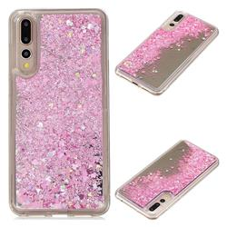 Glitter Sand Mirror Quicksand Dynamic Liquid Star TPU Case for Huawei P20 Pro - Cherry Pink