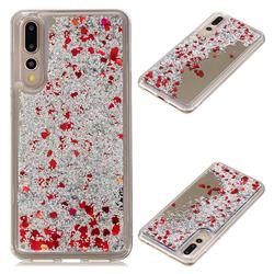 Glitter Sand Mirror Quicksand Dynamic Liquid Star TPU Case for Huawei P20 Pro - Red